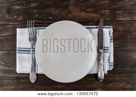 Table Setting Top View With Copy Space.