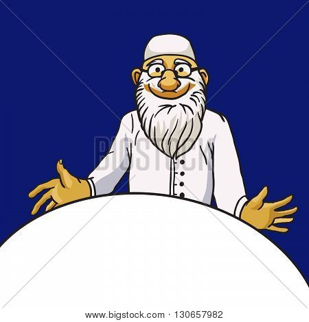 Kind old bearded doctor vector character isolated on blue background and empty space -- medical frame