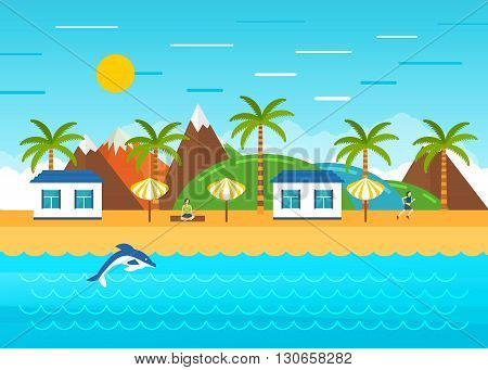 Beach summer landscape. Summer holidays, relax, yoga and healthy life on the beach under a palm tree. Tourist huts on the coast. Vacation, relaxation, ocean, sun, palms.Vector flat illustration