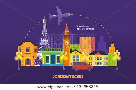 French Landmarks. Travel to Europe. Eiffel tower. France. London, United Kingdom and France flat icons design travel concept.