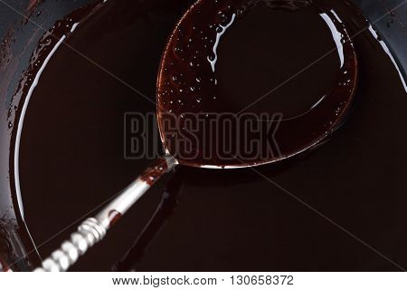 Chocolate Filled Silver Spoon In A Pan