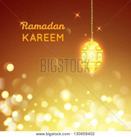 Vector illustration of Beautiful Golden lamp , Ramadan Kareem greeting on gold bokeh background.