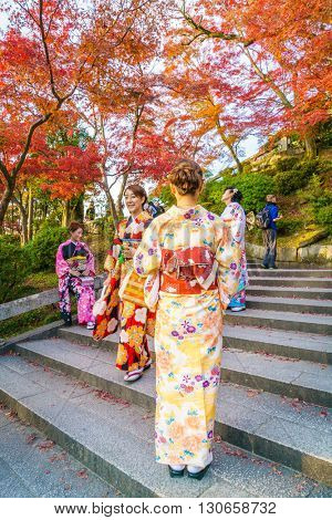 Kyoto, JAPAN-December 2: Beautiful  Young woman wearing a kimono in  Kiyomizu-dera Temple.Kyoto Japan on December 2,2015 Kiyomizu-dera was founded in the early Heian period.