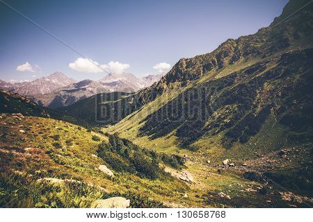 Mountains with green valley and blue sky idyllic Landscape in Abkhazia Summer Travel serene scenic view