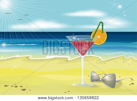 Summer holidays beach photo realistic vector background.Sand, glass, sunglasses