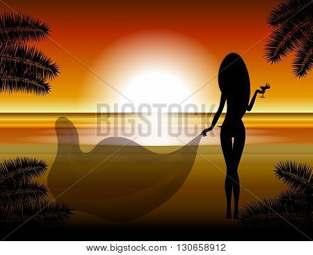 The girl against a beach and a decline. Vector illustration