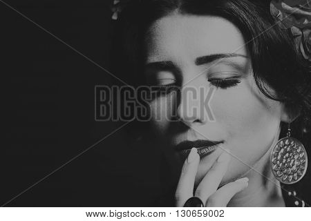 Portrait of beauty with luxurious hair close-up