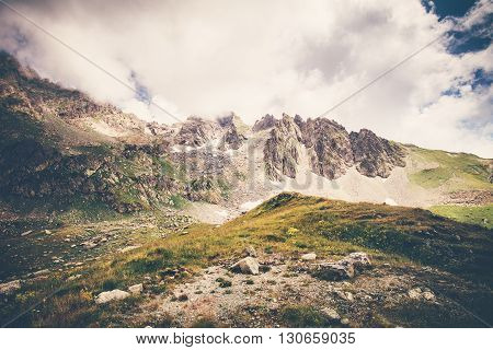 Rocky Mountains and clouds Landscape in Abkhazia Summer Travel serene scenic view