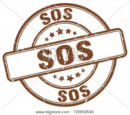 sos brown grunge round vintage rubber stamp