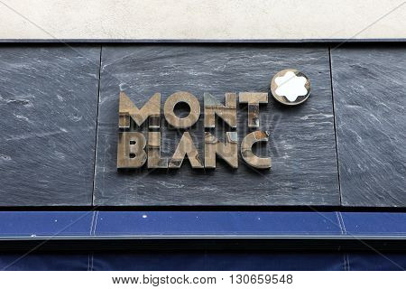 Bucharest, Romania - May 8, 2016: Mont Blanc logo. Mont Blanc International GmbH is a German manufacturer of luxury writing instruments, watches, jewellery and leather goods.