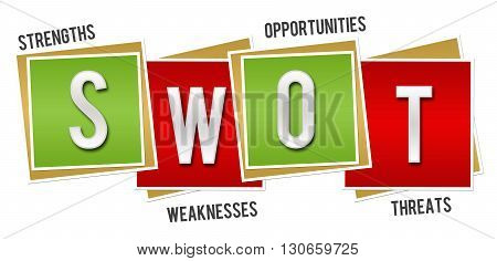 SWOT - Strengths Weaknesses Opportunities Threats concept image with text over red green background.