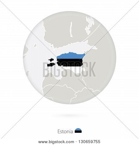 Map Of Estonia And National Flag In A Circle.