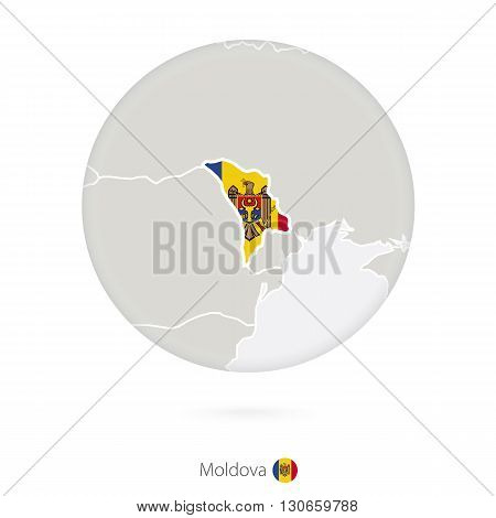 Map Of Moldova And National Flag In A Circle.