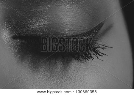 Great professional make-up eyes. Glitter eye shadow highlighter eyeliner. Eye of girl close-up.