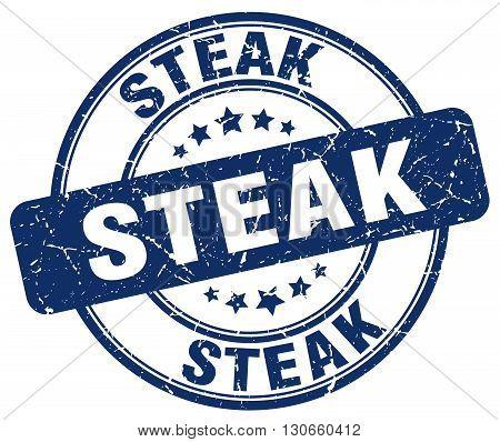 steak blue grunge round vintage rubber stamp