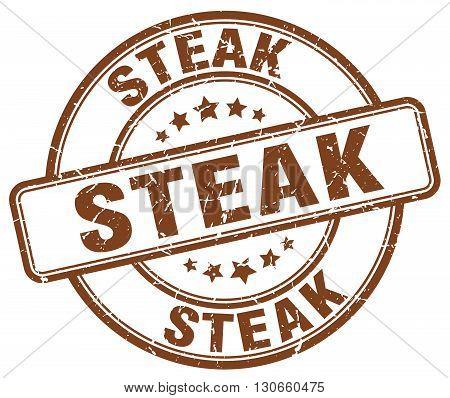 steak brown grunge round vintage rubber stamp