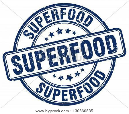 superfood blue grunge round vintage rubber stamp