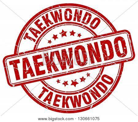 taekwondo red grunge round vintage rubber stamp