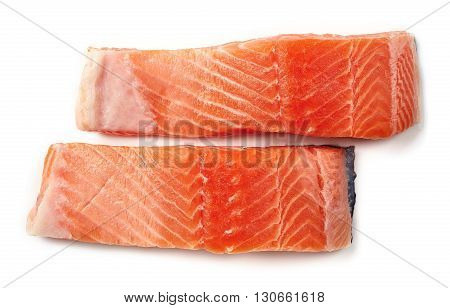 Fresh Raw Salmon Fillet Isolated On White, From Above