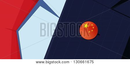 China flag lapel pin on man's suit jacket lapel. Transparency used. EPS10 file.
