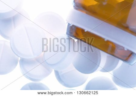 Pile of pills from the vial macro.