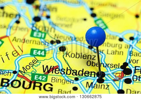 Wiesbaden pinned on a map of Germany