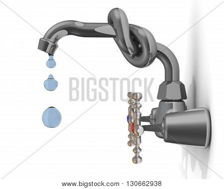 Dripping faucet tied in a knot on the white wall. Isolated. 3D Illustration