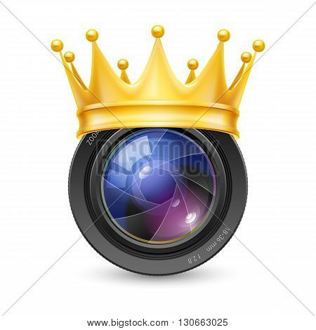 Golden Crown of the lens isolated on white