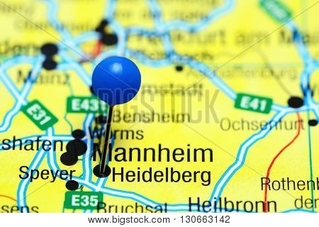 Heidelberg pinned on a map of Germany