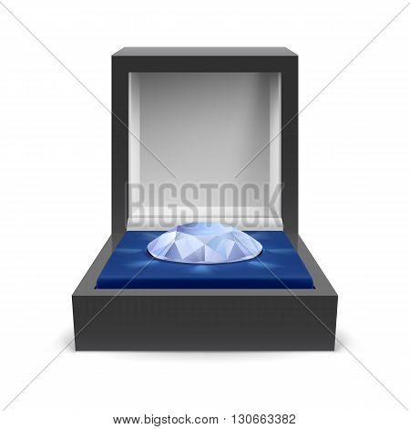 Open box for jewelry with diamond inside on a white background