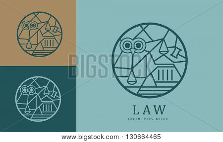 UNIQUE VECTOR LOGO / ICON DESIGN WITH LAW ELEMENTS AND SYMBOLISM IN A CIRCLE.