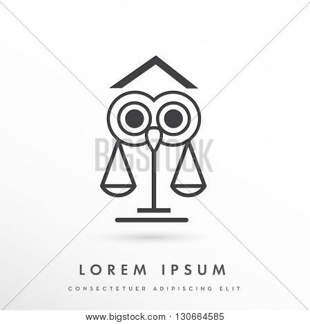 UNIQUE VECTOR LOGO / ICON DESIGN WITH LAW ELEMENTS AND SYMBOLISM  COLORS : GREY , ON WHITE BACKGROUND