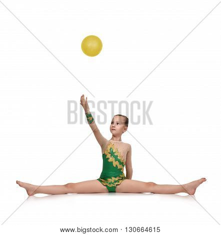 Girl Gymnast Catches A Ball