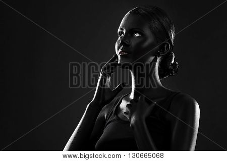 Woman Painted With Black Color