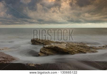 Stormy night on the Black sea, nature of Abkhazia