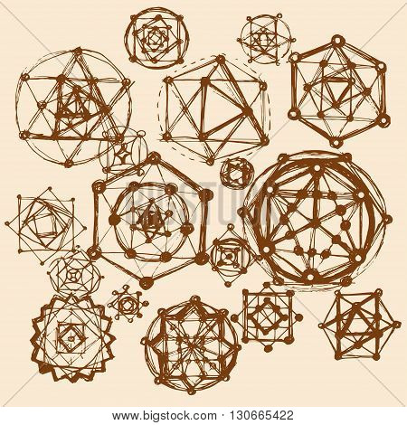 Sacred geometry symbols and elements background. Cosmic universe big bang alchemy religion philosophy astrology science physics chemistry and spirituality themes Brown color
