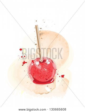 Candy apples watercolour effect. EPS10 vector format