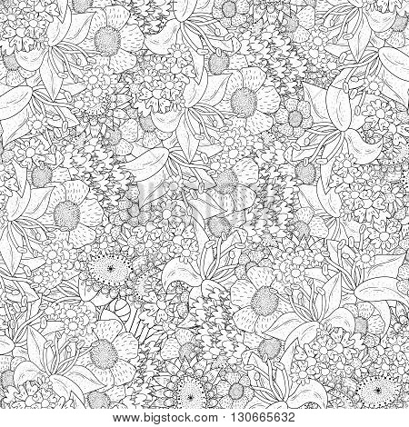 Vector  Monochrome Floral background. Hand Drawn Floral Texture, Coloring Book