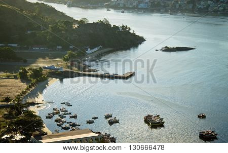 View of Prainha and its harbour in the city of Vila Velha, Brazil