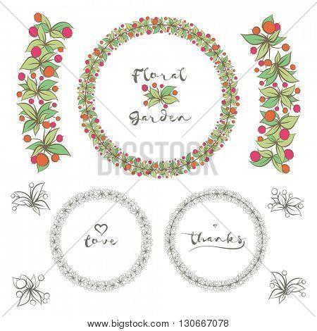 Vector round floral frame design.