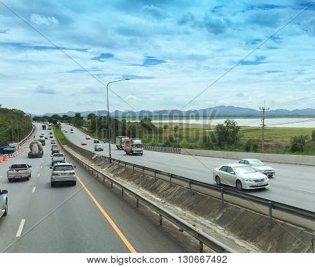 Nakhon Ratchasima Thailand - July 18 2015 : Mittraphap Highway near Lam Takhong Dam Nakhon Ratchasima