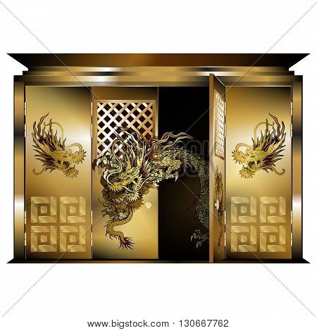 Vector illustration of a traditional east gate gold dragons opened door. Isolated object on a white background can be used with any image or text.