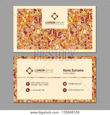 Visiting Card, Business Card With Abstract Polygonal Pattern. Vector Corporate Identity Template Wit