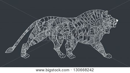 Lion on black background. Leo style zentangl. Pattern for coloring book. For tattoo art coloring books set.