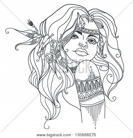 Girl in the style of boho. Coloring page. Vector