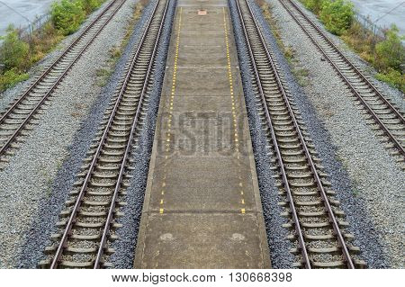 close up railway in country Chachoengsao Thailand