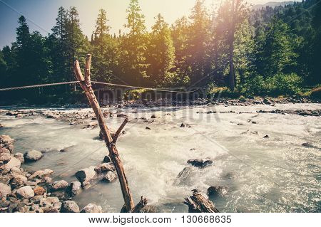 Mountains River and forest Landscape with cable rope to crossing scenic view wild nature summer travel in Abkhazia