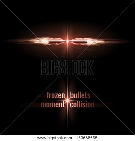 Frozen moment of two bullets collision in flame