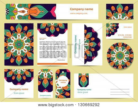 Stationery template design with bright mandalas. Documentation for business. Blue gree orange and pink colors