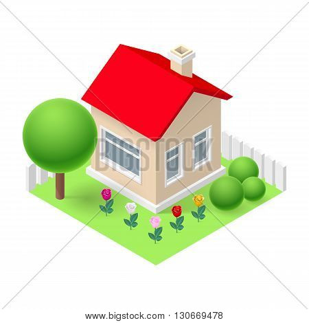 Isometric 3d small home fenced with flowers and trees